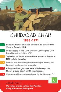 history heroes, world war 1, world war one, ww1 history card game, khudadad khan