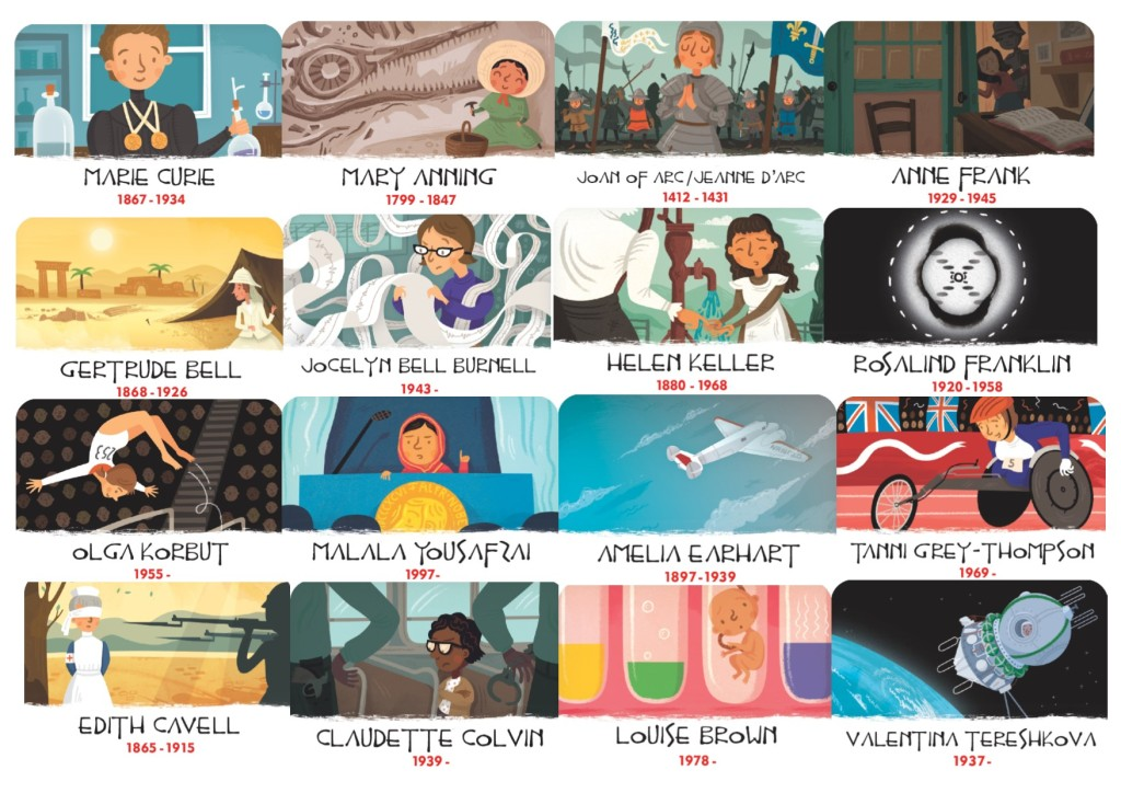 Women in HIstory, famous women in history, anne frank, marie curie, edith cavell, mary anning, malala yousafzai, valentina tereshkova, louise brown, rosalind franklin, jocelyn bell burnell, joan of arc, gertrude bell, history heroes