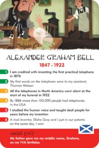 Inventors, alexander graham bell, history heroes, card game