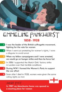 Emmeline Pankhurst card from History Heroes history quiz game