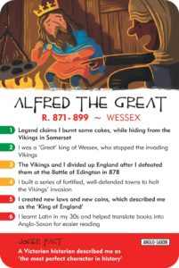 Alfred the Great character card from History Heroes: KINGS & QUEENS quiz card game
