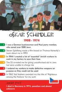 history heroes, world war two, quiz card game, famous people in history, educational card game, family game, oskar schindler