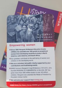 International Women's Day, women in history, history heroes, card games, mmeg, margaret mcnamara education grants