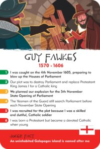 Guy Fawkes, the Gunpowder Plot, History Heroes card game, LONDON